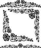 Corners with roses. Silhouette corners with roses decoration Royalty Free Stock Photos