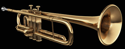 Cornet on black. Brass cornet at slight angle on black background with clipping path Royalty Free Stock Photos