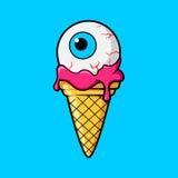 Cornet de crème glacée avec le globe oculaire Images libres de droits