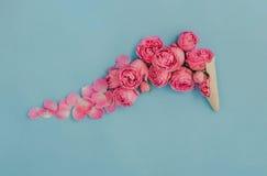 Cornet de crème glacée avec les roses roses sur le fond bleu Image libre de droits