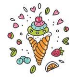 Cornet de crème glacée frais Photos libres de droits