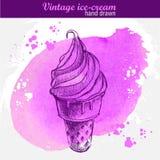 Cornet de crème glacée tiré par la main Photos libres de droits