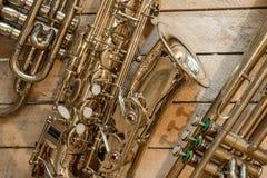 Cornet et trompette de saxophone Photos stock