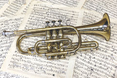 Cornet. The cornet and music sheets Stock Images