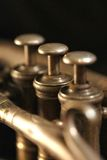 Cornet musical instrument. Close up picture of valves on brass wind instrument a coenet royalty free stock photo