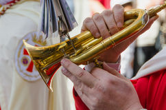 Cornet. A musician plays a cornet in a sacred week, procession Stock Images