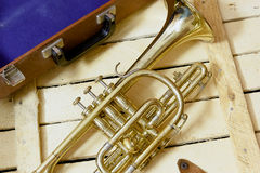 Cornet. The Cornet and mute on wooden background Stock Photos