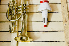 Cornet and mute. On wooden background Royalty Free Stock Photos