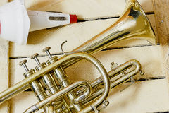 Cornet and mute. On wooden background Royalty Free Stock Images
