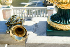 Cornet. On the stone railing Royalty Free Stock Photography