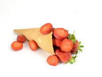 Cornet with strawberry Stock Images