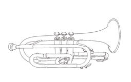 Cornet wind musical instrument. Drawing on white Royalty Free Stock Photos