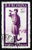 Corneteiro, soldado com chifre, 80th aniversário da guerra Russo-turca, cerca de 1957 Imagem de Stock
