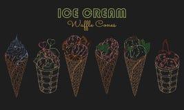 Cornets de crème glacée au néon illustration stock