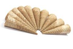 Cornets de crème glacée de gaufre Photos stock