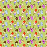 Cornets de crème glacée, modèle sans couture, couleur de différent, émotion de griffonnage Sourire et fâché Amour et surprise Des Image libre de droits