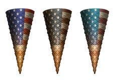 Cornets de crème glacée vides politiques patriotiques Images libres de droits