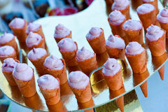 Cornets filled with cream Stock Photography