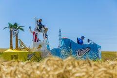 Cornetto Vehicle - Tour de France 2016. Saint-Quentin-Fallavier, France - July 16, 2016: Cornetto vehicle during the passing of Publicity Caravan in a wheat Royalty Free Stock Photos