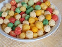 Cornflake balls. Color and sweet balls from the cornflakes Stock Photo