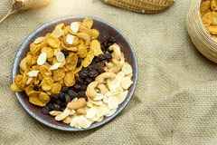 cornflake caramel snack food healthy nutrition meal with texture Stock Photo