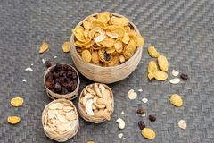 cornflake caramel snack food healthy nutrition meal with texture Royalty Free Stock Photos