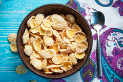 Cornflake cereal in bowl , top view Stock Photography