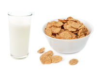 Cornflake cereals in bowl and glass of milk Royalty Free Stock Photography