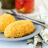 Cornflake Crusted Chicken Patties Stuffed with Cheese (Zrazy) Stock Images
