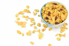 Cornflake with currant. In a ceramic bowl Isolated On White Background Royalty Free Stock Photo