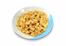 Cornflake with currant. In a ceramic dishes Isolated On White Background Stock Photo