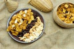 cornflake karmelu przekąski jedzenia odżywiania zdrowy posiłek z teksturą Fotografia Stock