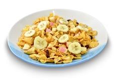 Cornflake med vinbäret och blandningfrukt Royaltyfri Foto