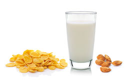 Cornflake milk and almond  on white background Stock Photography