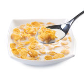Cornflakes. Healthy Breakfast-Cornflakes.Isolated on white Royalty Free Stock Image
