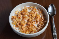 Cornflakes. I took some pictures of breakfast in the morning, it was cereal Stock Images
