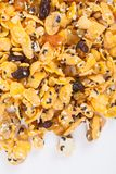 Cornflakes with almond, honey, sesame and dried fruits Stock Photos