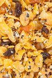 Cornflakes with almond, honey, sesame and dried fruits Stock Image