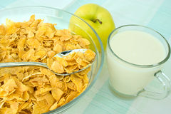 Cornflakes and apple Stock Photos