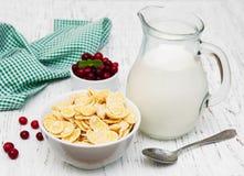 Cornflakes avec du lait Photo libre de droits