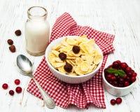 Cornflakes avec du lait Images stock