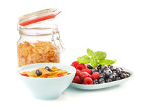 Cornflakes and berries Stock Images