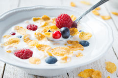 Cornflakes with berries for breakfast Royalty Free Stock Image