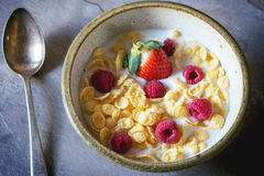 Cornflakes with berries Stock Images
