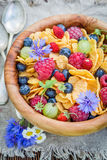 Cornflakes with berry fruits in sunny day Royalty Free Stock Images
