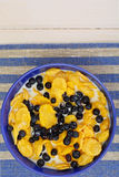 Cornflakes with Bilberry and Chocolate. Healthy Breakfast Stock Photos