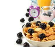 Cornflakes with blackberries Stock Image