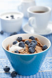 Cornflakes with blueberry and yogurt Royalty Free Stock Image
