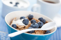 Cornflakes with blueberry and yogurt Royalty Free Stock Photo