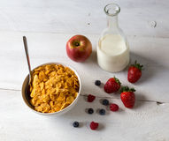 Cornflakes in a bowl Stock Photo